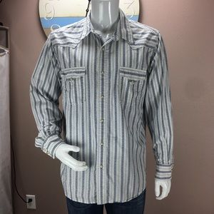 Lucky Brand Mens Western Pearl Snap Down Striped